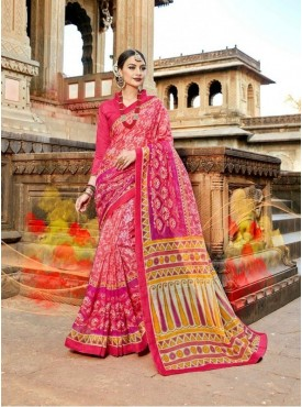 Urban Naari Pink Net Cotton Printed & Thread Embroidery Saree