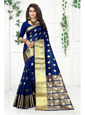 Urban Naari Navy Blue Colored Cotton Silk Multicolor Weaving Work Saree