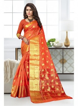 Urban Naari Orange Colored Cotton Silk Multicolor Weaving Work Saree