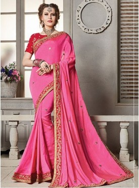 Roykals Textile Pink Color Party Wear Embroidered Saree