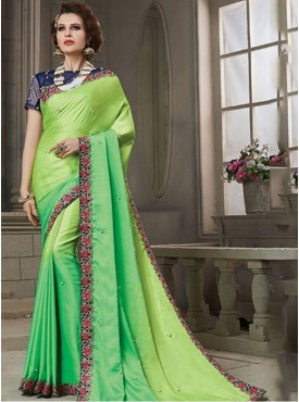 Roykals Textile Green Color Party Wear Embroidered Saree