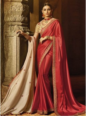 Roykals Textile Red Color Exclusive Designer Party Wear Saree