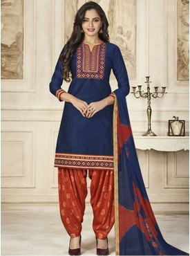 Roykals Textile Navy Blue Color Glace Cotton Embroidered Patiala Designer Suits