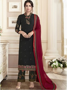 Roykals Textile Black Color Georgette Designer Full-Embroidered Work Suits