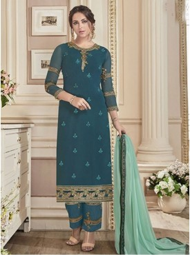 Roykals Textile Turquoise Color Georgette Designer Full-Embroidered Work Suits