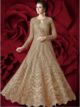 Roykals Textile Light Brown Color Net Bridal Designer Anarkali suits