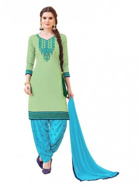Aasvaa Light Green Color Glaze Cotton Unstitched Suits