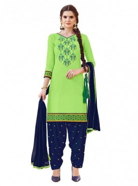 Aasvaa Light Green Color Glaze Cotton Unstitched Suit