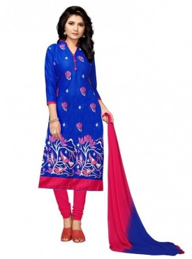Aasvaa Blue Color Slub Cotton Unstitched Suit