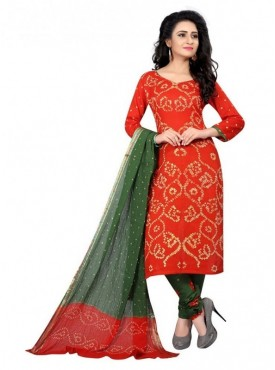 Aasvaa Red Color Satin Cotton Unstitched Suits