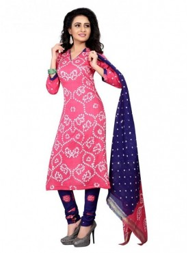 Aasvaa Pink Color Satin Cotton Unstitched Suit