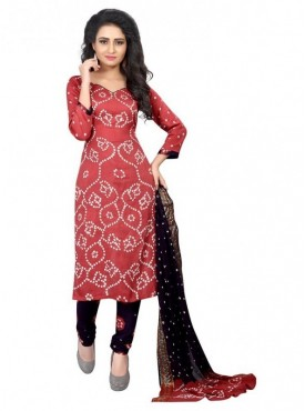 Aasvaa Red Color Satin Cotton Unstitched Suit