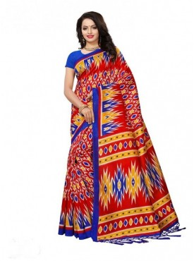 Roykals Textile Red Colored Exclusive Poly Silk Printed Saree