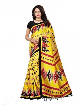 Roykals Textile Yellow Colored Exclusive Poly Silk Printed Saree