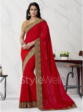 Roykals Textile Red Colored Exclusive Chiffon Saree