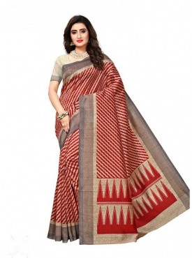 Roykals Textile Beige Colored Exclusive Poly Silk Printed Saree