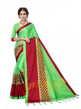 Roykals Textile Green Colored Stylish Poly Silk Plain and Checks pattern Saree