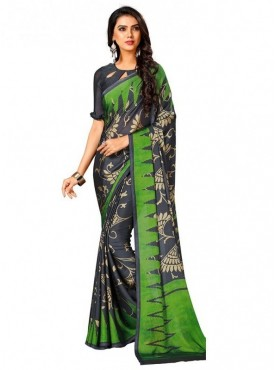 Roykals Textile Grey Colored Exclusive Crep Printed Saree