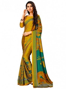 Roykals Textile Yellow Colored Exclusive Crep Printed Saree