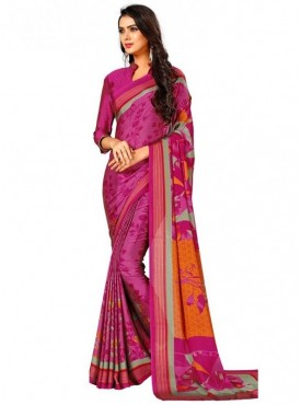 Roykals Textile Pink Colored Exclusive Crep Printed Saree