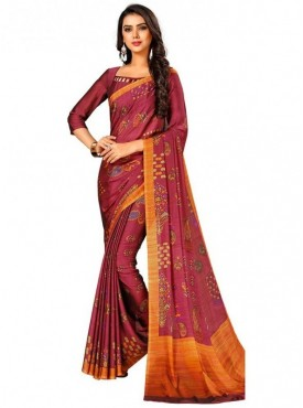 Roykals Textile Maroon Colored Exclusive Crep Printed Saree