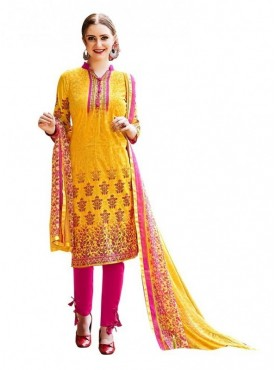 Viva N Diva Yellow Colored Cambric Cotton Salwar Suit