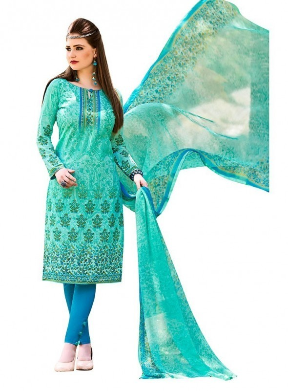 Viva N Diva Sea Green Colored Cambric Cotton Salwar Suit