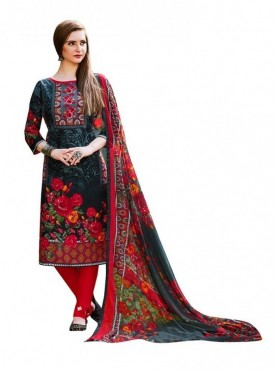Viva N Diva Black Grey & Red Colored Cambric Cotton Salwar Suit