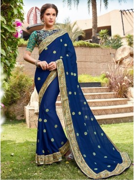 Roykals Textile Blue Color Georgette Designer Embroidered Party Wear Saree