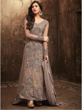 Roykals Textile Grey Color Net  Heavy Designer Party wear suits