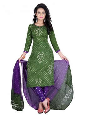 Aasvaa Green Color Satin Cotton Un Stitched Designer Bandhani Suits
