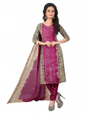 Aasvaa Pink Color Satin Cotton Un Stitched Designer Bandhani Suits
