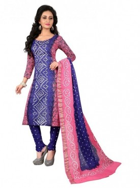 Aasvaa Blue Color Satin Cotton Un Stitched Designer Bandhani Suits