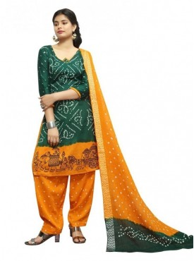 Aasvaa Green Color Satin Cotton Designer Bandhej Unstitched Suits