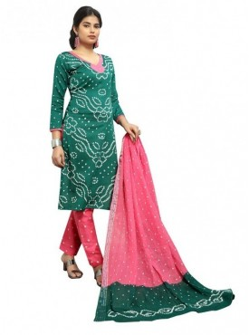 Aasvaa Pink Color Satin Cotton Printed Designer Bandhani Suits
