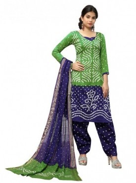 Aasvaa Green Color Satin Cotton Printed Designer Bandhani Suits