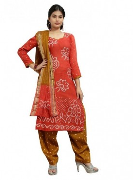 Aasvaa Red Color Satin Cotton Printed Designer Bandhani Suits