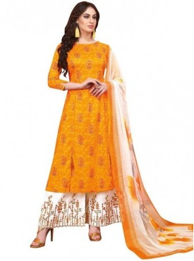 Viva N Diva Mustard Colored Pure Satin Salwar Suit