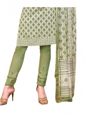 Viva N Diva Off White & Green Colored Pure Satin Salwar Suit