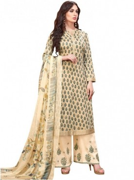 Viva N Diva Beige Colored Pure Satin Salwar Suit