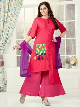 Roykals Textile PINK Color Rayon Letest Full Stitch Salwar Suits