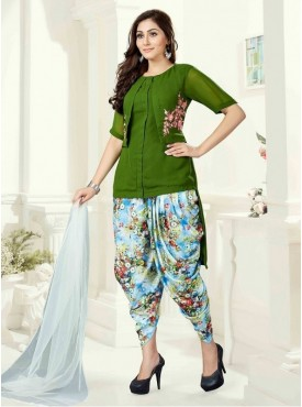 Roykals Textile Green Color Georgette Letest Full Stitch Salwar Suits