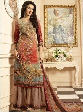 Roykals Textile Peach Color Crepe  Heavy Digital Printed Salwar Suits