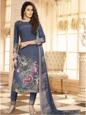 Roykals Textile Grey Color Crepe  Heavy Digital Printed Salwar Suits