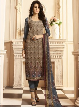 Roykals Textile Brown Color Crepe  Heavy Digital Printed Salwar Suits