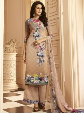 Roykals Textile Beige Color Crepe  Heavy Digital Printed Salwar Suits