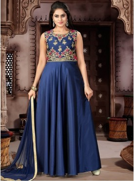 Roykals Textile Navy Blue Color Spenic Letest Full Stitch Salwar Suits