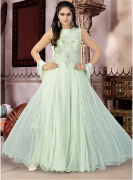 Roykals Textile Sea Green Color Net Letest Full Stitch Salwar Suits