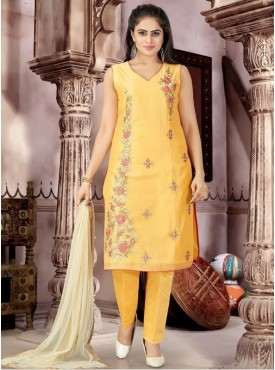 Roykals Textile Yellow Color Chenderi Letest Full Stitch Salwar Suits