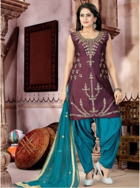 Roykals Textile Maroon Color Malban Satin Letest Full Stitch Salwar Suits